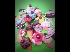 Sorvetes, donuts e cupcakes _ chaveiros, Imãs e apliques parte2 - YouTube