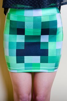 Minecraft Creeper Inspired Bodycon Skirt by FoxTaleDesigns on Etsy