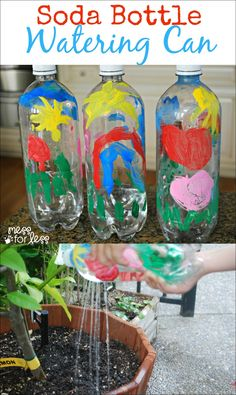 Soda Bottle Watering Can - Great activity for earth day! Teaches kids to recycle and take responsibility for plants. Earth Day Activities, Spring Activities, Craft Activities, Panda Activities, Recycling Activities For Kids, Kid Activites, Therapy Activities, Writing Activities, Earth Day Projects
