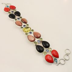 Stunning Multi Stone .925 Silver Designer Handmade Bracelet Jewelry 84 #Handmade