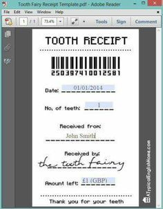 Printable tooth fairy receipt (can be edited with child's details). Printable tooth fairy receipt (can be edited with child's details). Tooth Fairy Receipt, Tooth Fairy Note, Tooth Fairy Pillow, Receipt Template, Invoice Template, Kids Corner, Toy Corner, Raising Kids, My Children