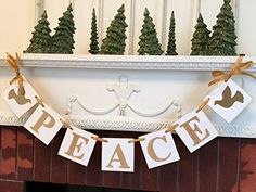 PEACE Banner / Vintage Inspired Christmas Banner / Gold Holiday Garland / Christmas Peace Banner / PEACE Garland / Holiday Photo Prop / Christmas decorations / Gold Christmas Decorations. This is the PERFECT banner for decorating your home this season!. I LOVE the way it looks on my bookshelf , mantle, and on my window ledge. I did it in a Vintage Inspired gold theme so that it will work in many different decorating styles. I made this little guy on 4x4 inch white chipboard pieces. I...