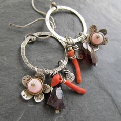 Hoop Earrings Wire Wrapped Long Dangling Orange Gemstone by artdi, $125.00
