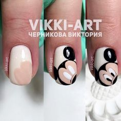 Nails and manicures step by step. Nails and manicures step by step. Trendy Nail Art, Cute Nail Art, Nail Art Diy, Easy Nail Art, Diy Nails, Cute Nails, Glitter Nails, Ongles Mickey Mouse, Mickey Nails