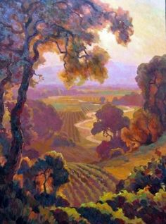 "napa valley watercolors | Napa Valley, 40x30"" original oil by Leon Roulette"