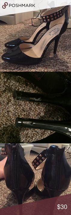 """sexy studded heels only worn once. a little damage to material on both heels. other than that they are great shape. About a 4"""" heel. Strap around leg is gold studded and shoes are pointed toe and a shiny black. zipper on heel. so cute! Shoes Heels"""