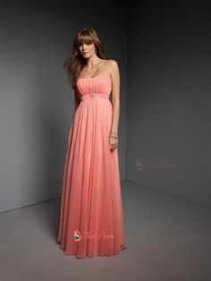 Stunning Coral Bridesmaid Dresses : Coral Chiffon Bridesmaid Dresses Floor Length Chiffon Bridesmaid Dress