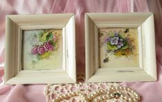 Cottage Chic Flower Tile Wall Pictures Set of Two by happybdaytome, $39.00