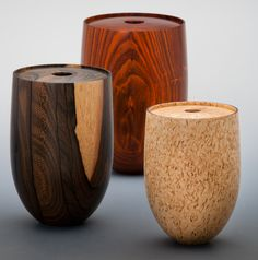 "Ray Key's ""Hollow Vessels"" are perfectly scaled to one another, ranging from 5"" to 6-3/8"" tall. Largest to smallest: Cocobolo, Ziracote, Masur Birch. Photo from Craft Supplies USA #woodturning #woodturner #woodturnerscatalog"