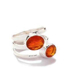 Fire Opal Silver Ring