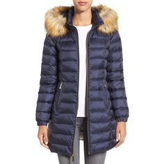 Women's Kate Spade New York Bow Back Down Coat With Faux Fur Trim ($328) ❤ liked on Polyvore featuring outerwear, coats, deep navy, down coat, fake fur coats, kate spade coat, bow coat and down filled coats