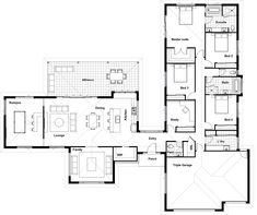 Floor Plan Friday: Study, home cinema, activity room & large undercover alfresco. - House Plans, Home Plan Designs, Floor Plans and Blueprints Floor Plan 4 Bedroom, 4 Bedroom House Plans, Dream House Plans, Modern House Plans, Small House Plans, House Floor Plans, U Shaped House Plans, U Shaped Houses, Activity Room
