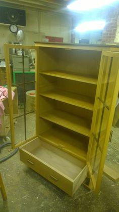 Walnut & Beech Display cabinet with draw