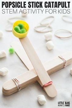 Popsicle Stick Catapult for Kids STEM Activity Popsicle Stick Catapult Design Ideas for Kids STEM Activities Catapult For Kids, Popsicle Stick Catapult, Popsicle Stick Crafts For Kids, Crafts For Teens To Make, Popsicle Sticks, Craft Stick Crafts, Crafts To Do, Projects For Kids, Diy For Kids