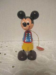 Vintage Disney Production Mickey Mouse Wood Kokeshi Japan Hand Painted