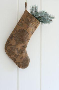 Christmas Stockings, Damask Christmas Stocking, Upholstery Stocking, Brown Gold Damask Stocking by GreenwoodStore on Etsy