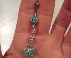 Belly Button Ring Crystal Barbell Silver Tone Hearts Aqua Blue and Aurora Borealis Crystals OOAK