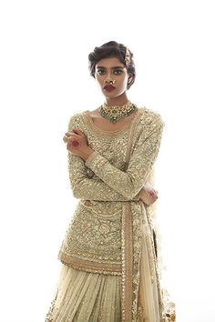 Sabyasachi pastel green colour wedding lehenga – Front View
