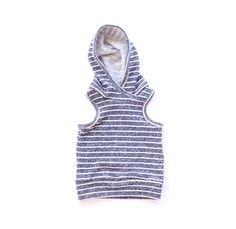 this baby/toddler hoodie is sleeveless for the warm months or a great layering piece come fall!made out of our soft & stretchy stripedfrench terry. patter