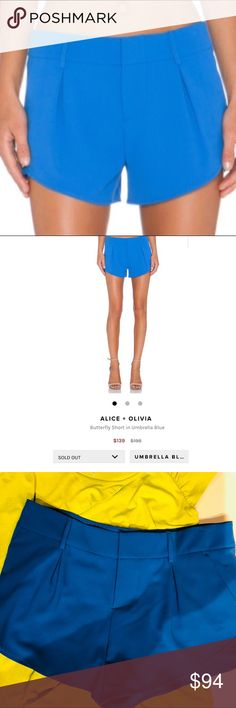 NWT Alice & Olivia 🎈SOLD OUT🎈 butterfly shorts Gorgeous NWT. Umbrella Blue sold out butterfly shorts Alice & Olivia Shorts