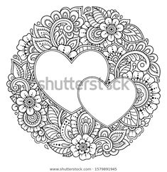 Circular pattern in form of mandala with frame in shape of heart. Decorative ornament in ethnic oriental mehndi style. Antistress coloring book page. Heart Coloring Pages, Pattern Coloring Pages, Printable Adult Coloring Pages, Coloring Book, Mandala Tattoo Design, Mandala Drawing, Mandala Art, Henna Mandala, Henna Art
