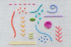 Ribbon Embroidery For Beginners 15 Hand Embroidery Stitches - Learning hand embroidery is fun and easy with these 15 essential stitch tutorials for beginners and experienced stitchers! Basic Hand Embroidery Stitches, Learn Embroidery, Silk Ribbon Embroidery, Crewel Embroidery, Hand Embroidery Patterns, Vintage Embroidery, Embroidery Techniques, Cross Stitch Embroidery, Embroidery Thread