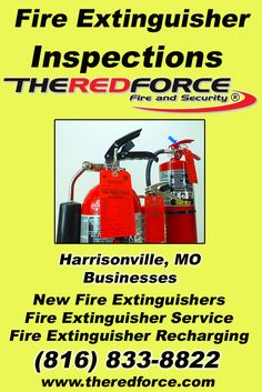 Fire Extinguisher Inspections Harrisonville, MO (816) 833-8822 This is The Red Force Fire and Security.  Call us Today for all your Fire Protection needs! Experts are standing by...
