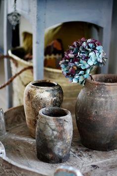 rustic-looking vases