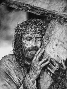 "Isaiah 53:5 ""But He was wounded for our transgressions, He was bruised for our iniquities; The chastisement for our peace was upon Him."" - A painful picture, a beautiful love story. - Drawing by Tierney Farrell"