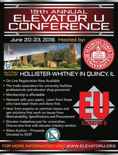 Elevator U will take place in Quincy, Illinois, on June 20-23. #ElevatorU #lifteducation