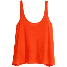 H&M Wide top ($6.09) ❤ liked on Polyvore featuring tops, h&m, orange, shirts, t-shirts, sleeve less shirts, orange top, h&m tops and shirts & tops