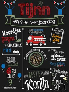 eerste verjaardag bord van krijt tijnn First Birthdays, Baby Kids, Children, Party, Diy, Inspiration, Garden, Gift, Do It Yourself
