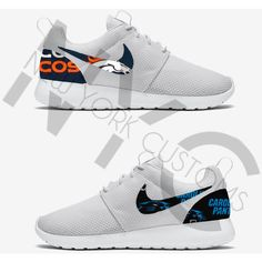 Superbowl 50 Nike Roshe Run Triple White Custom (Features Denver... ($150) ❤ liked on Polyvore featuring shoes, athletic shoes, silver, sneakers & athletic shoes, tie sneakers, unisex adult shoes, unisex shoes, tie shoes, print shoes and white shoes
