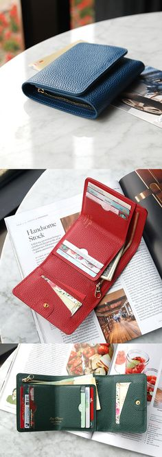 This beautiful looking tri-fold wallet does not take much space in your purse but it can hold all your bills, coins and cards securely! Wallets For Women Leather, Leather Men, Leather Clutch, Leather Purses, Simple Wallet, Best Wallet, Minimalist Wallet, Leather Accessories, Clutch Wallet