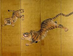 Detail. Maruyama Okyo. Fierce Tigers. Right screen of a pair of six panel Japanese folding screens. Private collection. 過去記事より 円山応挙 猛虎図屏風 左隻 個人蔵