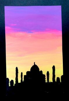 exploring negative/positive shape and analogous colour using the silhouette of a famous architectural structure