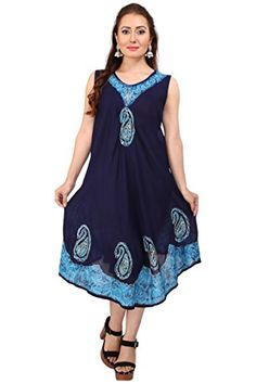 Ladies Dress Tie Dye Flared Swing Casual Sleeveless Cover Up Tank Tunic One Size Top NavyTurq * More info could be found at the image url-affiliate link.