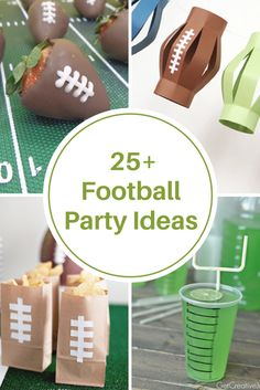 When planning a Super Bowl Party, don& you think the decorations and food are almost as important as the commercials and oh yeah…. the game! Sharing some Super Bowl Party Ideas that are sure to get you inspired to start planning for your get together. Nfl Party, Football Party Foods, Football Birthday, Sports Party, Football Food, Party Fun, Party Games, Football Party Decorations, Football Themes