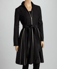 Take a look at this Black & White Contrast Trim Coat - Women by Samuel Dong on #zulily today! $59 !!