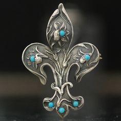 Antique Silver Art Nouveau Fleur de Lis Floral Design Watch Pin with turquoise.