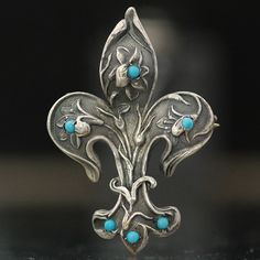 Antique Silver Art Nouveau Fleur de Lis Floral Design Watch Pin