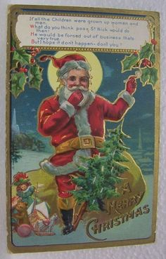 VINTAGE OLD MERRY CHRISTMAS SANTA CLAUSE TOYS DOLL BEAR BALL HOLLY DRUM POSTCARD #Christmas