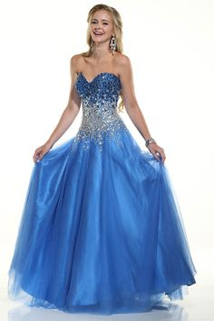 2015 Sweetheart A Line Prom Dresses Tulle Floor Length With Beading And Rhinestone