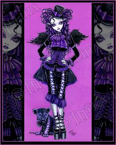 Kitty Purple Couture Gothic Victorian Cat Angel 8x10 Signed PRINT. $9.99, via Etsy.