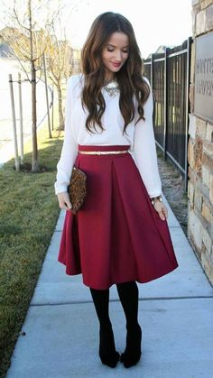 Try a marsala skirt for a #festive look.