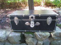 1940's Antique Black Camping Trunk ~ Black Trunk, Antique Trunk, 1940s Trunk…