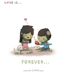 Check out the comic HJ-Story :: Love is. Hj Story, Cute Love Stories, Love Story, Anime Chibi, Cute Love Cartoons, Illustrations, What Is Love, Love Of My Life, Zombies