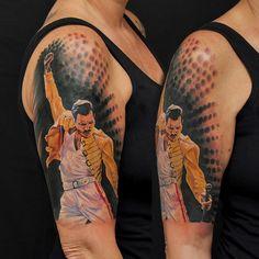 Freddie Mercury Tattoos In 2020 Fred Mercury Tattoo by Fernandoshimizu On Deviantart Awful Tattoos, Creepy Tattoos, Tattoos For Guys, Music Tattoos, Body Art Tattoos, Tatoos, Fan Tattoo, Cover Tattoo, Freddie Mercury Tattoo