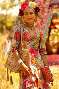 illustration bohemian fashion tumblr | ethnic exotic fashion floral folk golden…
