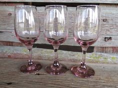 FOUR (4) vintage pink wine glasses pink long stemmed goblets Libbey premier Plum Pink,  pink wine water glasses for wedding toasting  CHEERS, $25.00